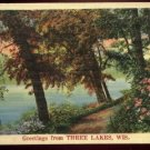 Greeting From Three Lakes, Wisconsin NYCE linen postcard RPO May 10, 1942 For Defense 1 cent stamp