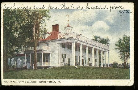 1905 undivided back postcard Washingtons Mansion, Mount Vernon Va