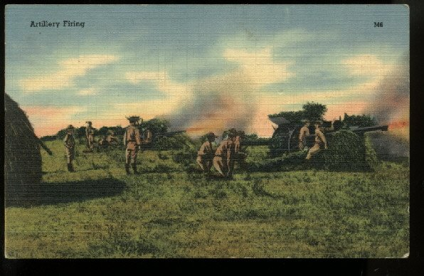 Artillery Firing Tichnor Military Series 69991 linen postcard