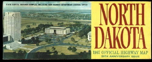 1967 North Dakota Official State Map 50th Anniversary Issue  FREE S/H