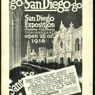 Original 1916 Ad for San Diego Exposition panama - california international  and Santa Fe railroad