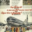 1950 ad Pan American Airlines       Clipper fares to Europe