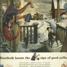 1950 Maxwell House coffee ad  Mailman winter scene  James Bingham Art
