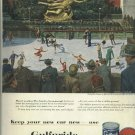 1950 Gulf Oil ad Melbourne Brindle art of Rockefeller Plaza  skating rink