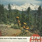 1950 RPM DELO magazine ad Arch logging near Mount Shasta   Standard Oil of California