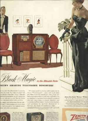 1950 Zenith tv radio magazine ad   There's Black Magic in the Blaxide Tube