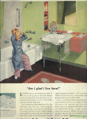 1950 Kohler ad plumbing fixtures  Cute girlsitting on tub with doll on shelf  Am I glad I live here