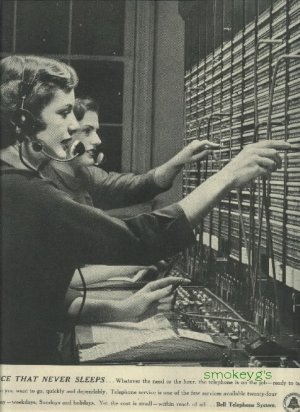 1950 Bell Telephone System magazine ad  Operators Service that Never Sleeps