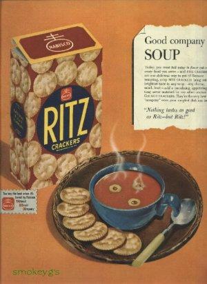 1950 Ritz cracker ad    Good company to soup   Nabisco