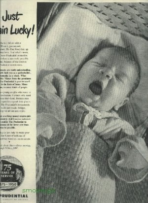 1950 Prudential insurance full page ad  infant yawning