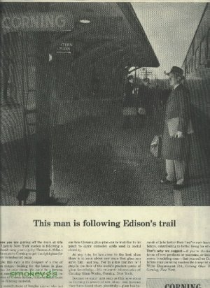 1950 Corning glass full page ad   This man is following Edison's trail
