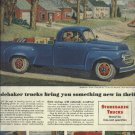 1950 Studebaker truck full page ad  blue 3/4 ton pick up with 8 ft. bed