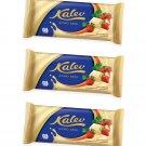 3 x Kalev White Chocolate with Biscuit & Strawberry Bits 3 x 100g 3.5oz