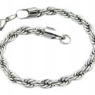 Mens Womens 316L Stainless Steel 8 Inch Silver Rope Chain Bracelet 6mm