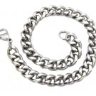 Mens Womens 316L Stainless Steel Silver Curb Chain Bracelet 13mm