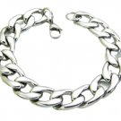15mm Mens Womens 316L Stainless Steel Flat Curb Silver Chain Bracelet