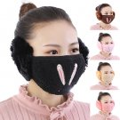Woman Mask with Earmuff Warm Fur Windproof Face Mask Bunny Cats Printed