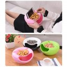 Creative Lazy Snack Bowl Plastic Double Layer Snack Storage Box Fruit Plate SE