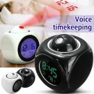 Multi-function Wall Ceiling Projection Alarm Clock Talking Report Thermometer LCD Temperature