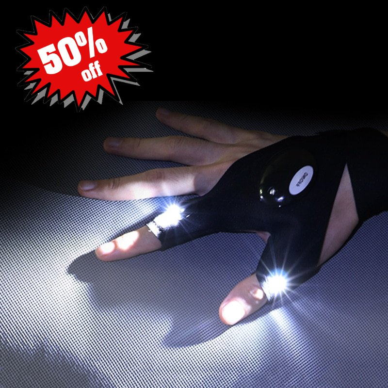 Night Light Waterproof Fishing Gloves with LED Flashlight Tool Outdoor Gear Cycling Fingerless Glove