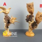 Couple Owls on a Flower,Couple Seagull,Wood Carving,Figurine,Bird Statue,Nature Decor,Gift