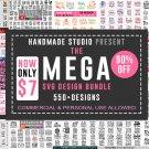 550+ SVG Designs – The Mega Bundle   20 different design bundles SVG,DXF,PNG,PDF