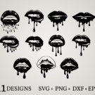 HUGE Bundle Dripping-Lips-Lips-Bundle Graphic Desing T-shirt in SVG EPS PNG and DXF files