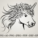 HUGE Bundle Unicorn-Unicorn-Face Graphic Desing T-shirt in SVG EPS PNG and DXF files