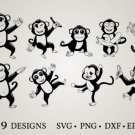 HUGE Bundle Monkey-Monkey-Clipart Graphic Desing T-shirt in SVG EPS PNG and DXF files