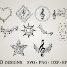 HUGE Bundle Music-Note Graphic Desing T-shirt in SVG EPS PNG and DXF files