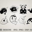 HUGE Bundle Narwhal-Bundle-Narwhal-Clipart Graphic Desing T-shirt in SVG EPS PNG and DXF files