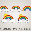 HUGE Bundle Rainbow-Bundle-Rainbow-Clipart Graphic Desing T-shirt in SVG EPS PNG and DXF files