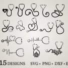 HUGE Bundle Stethoscope-Stethoscope-Clipart Graphic Desing T-shirt in SVG EPS PNG and DXF files