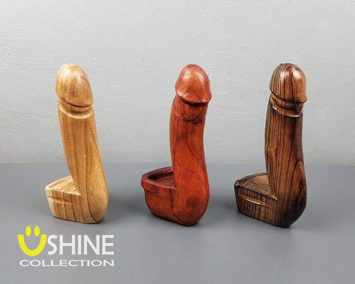 Vintage Wooden Penis Ashtray,Large Penis Ashtray,Wood Carving Penis,Wooden Ashtray,18+ Mature