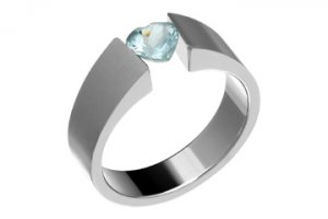 Heart Shape Blue Topaz Titanium Ring! Directly from the manufacturer- Design your own ring!