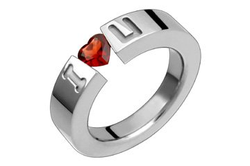 Heart Shape Garnet I LOVE YOU Titanium Ring! Directly from the manufacturer- Design your own ring!