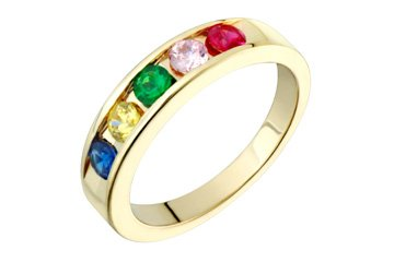 14K Gold Synthetic Birthstone Family Ring! Directly From The Manufacturer-Design Your Own Ring!