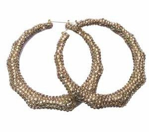"2.5"" Bamboo Hoop Earring Covered in Swarovski Crystals"