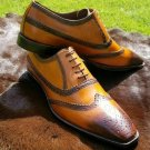 Balmorals Wing Tip Two Tone Full Brogues Real Leather Official Pairs Shoes