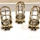 Authentic Reclaimed Nautical Antique Old Ship Brass Original Wall Mount Bulkhead Light 3 Pieces