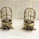 Original Maritime Antique Old Ship Brass Original Wall Mount Bulkhead Light 2 Pieces