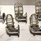 New Japanese Naval Patt Aluminum Swan Neck Wall Light – Brass Cage 5 Pieces