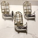 New Japanese Naval Patt Aluminum Swan Neck Wall Light – Brass Cage 3 Pieces