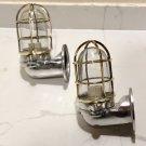 New Japanese Naval Patt Aluminum Swan Neck Wall Light – Brass Cage 2 Pieces