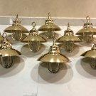 Nautical Marine Solid Brass Passageway Bulkhead Pendant Ship Light with Shade 9 Pieces