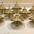 Nautical Marine Solid Brass Passageway Bulkhead Pendant Ship Light with Shade 8 Pieces