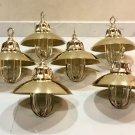 Nautical Marine Solid Brass Passageway Bulkhead Pendant Ship Light with Shade 6 Pieces