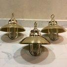 Nautical Marine Solid Brass Passageway Bulkhead Pendant Ship Light with Shade 3 Pieces