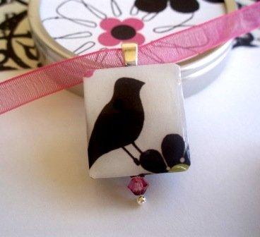 Little Black Bird Scrabble Tile Necklace in a tiny tin
