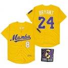 Men's #8 #24 KB Yellow Baseball Shirt 824 Patch Stitched